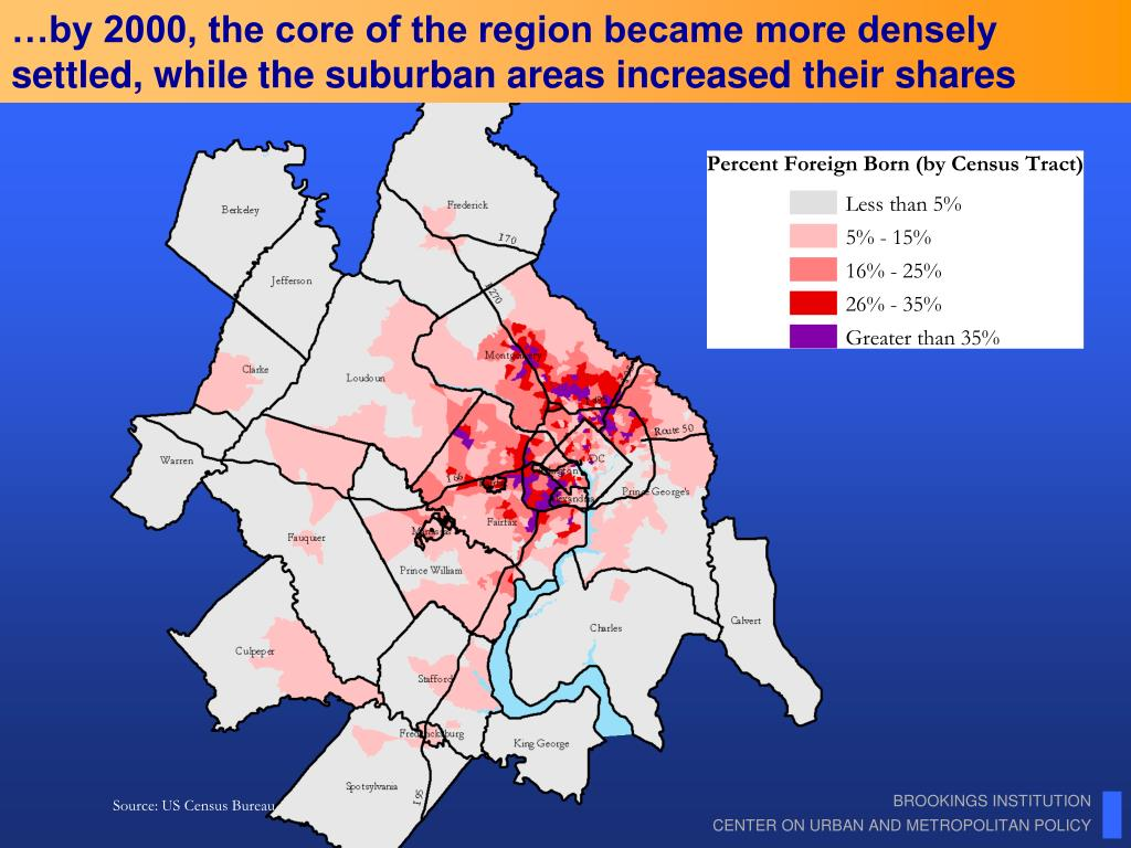 …by 2000, the core of the region became more densely settled, while the suburban areas increased their shares