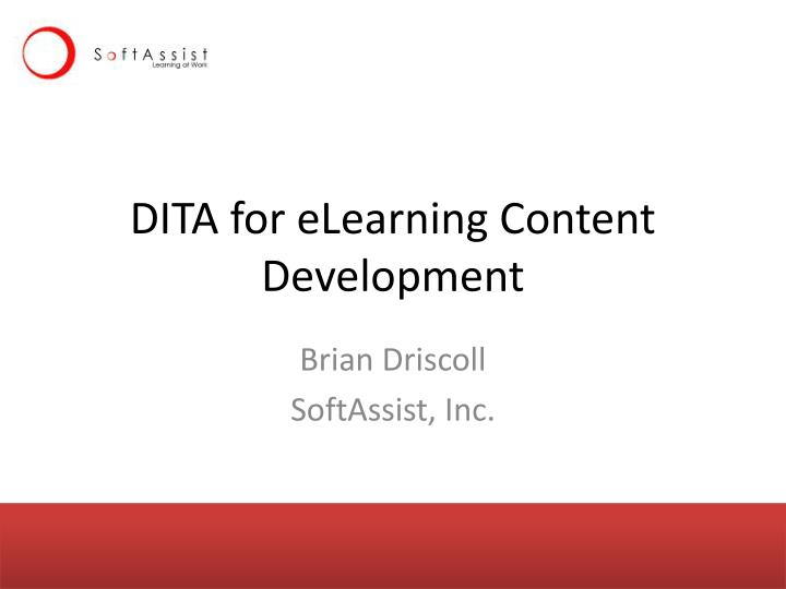 dita for elearning content development n.