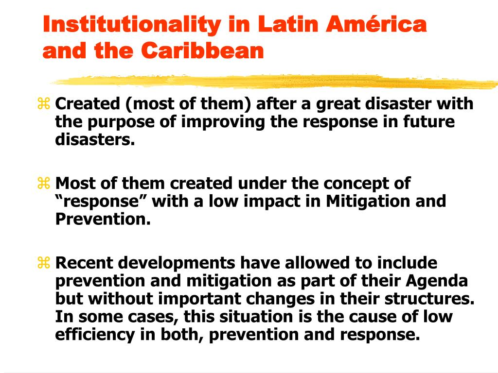 Institutionality in Latin América and the Caribbean