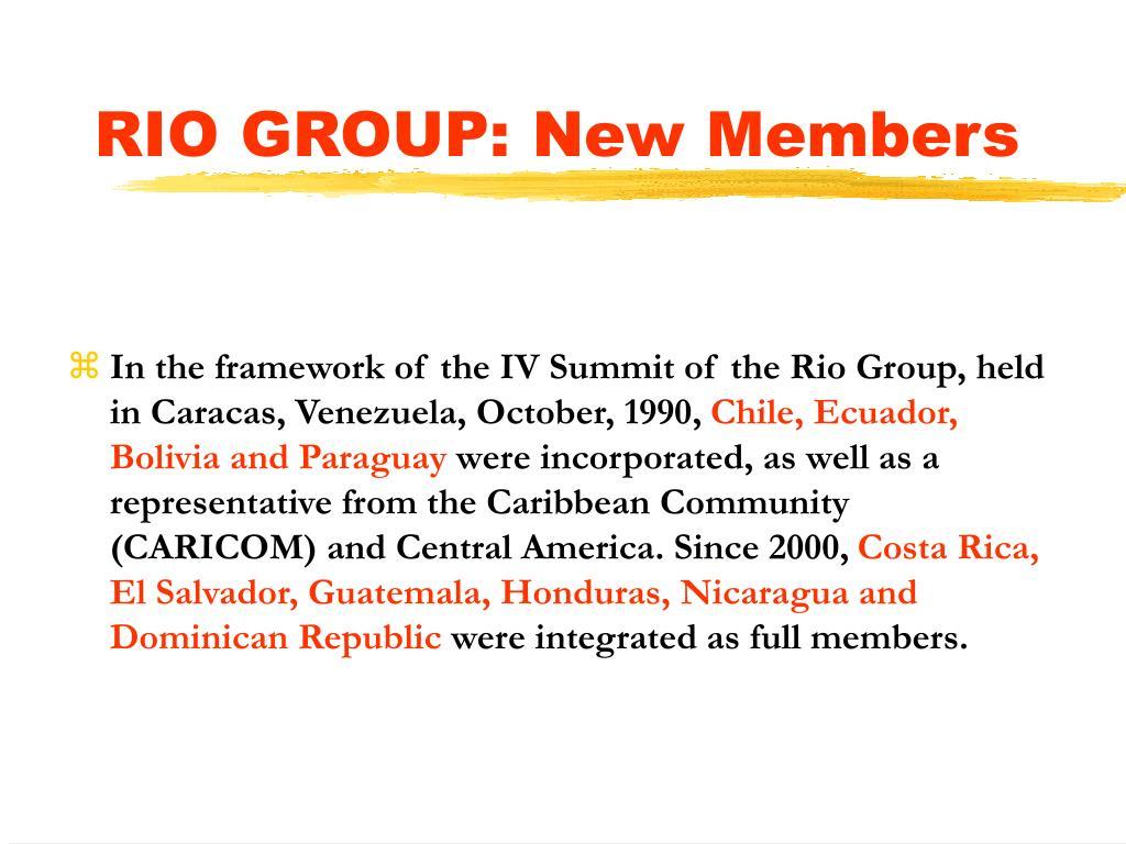RIO GROUP: New Members