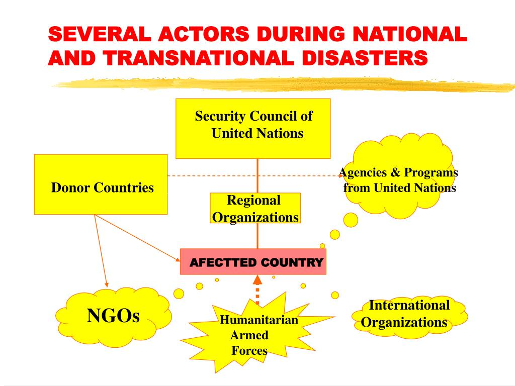 SEVERAL ACTORS DURING NATIONAL AND TRANSNATIONAL DISASTERS