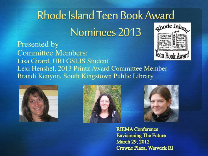 rhode island teen book award nominees 2013 n.