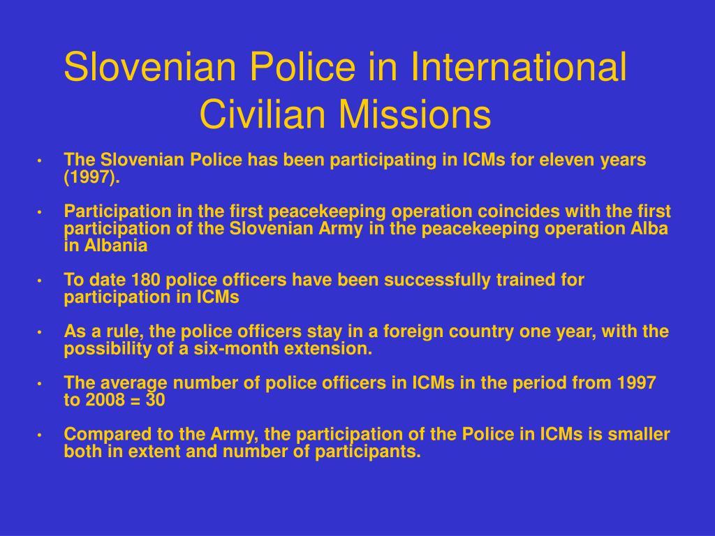 Slovenian Police in International Civilian Missions
