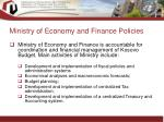 ministry of economy and finance policies