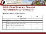 public expenditure and financial accountability pefa indicators