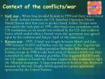 context of the conflicts war