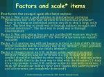 factors and scale items