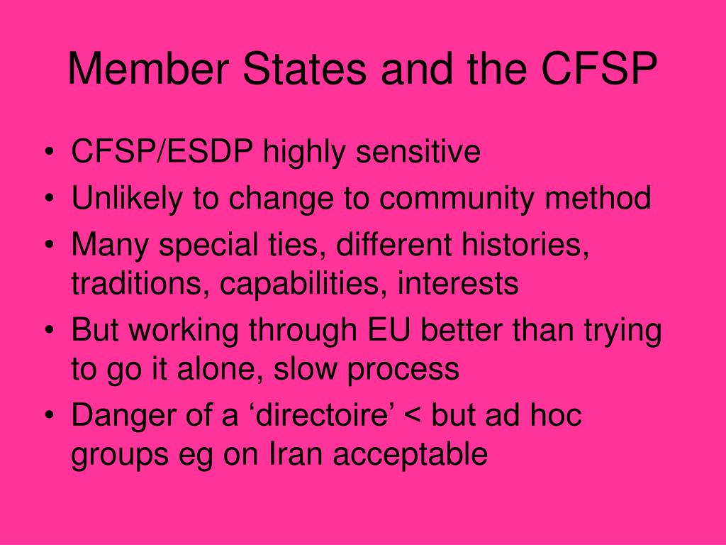 Member States and the CFSP