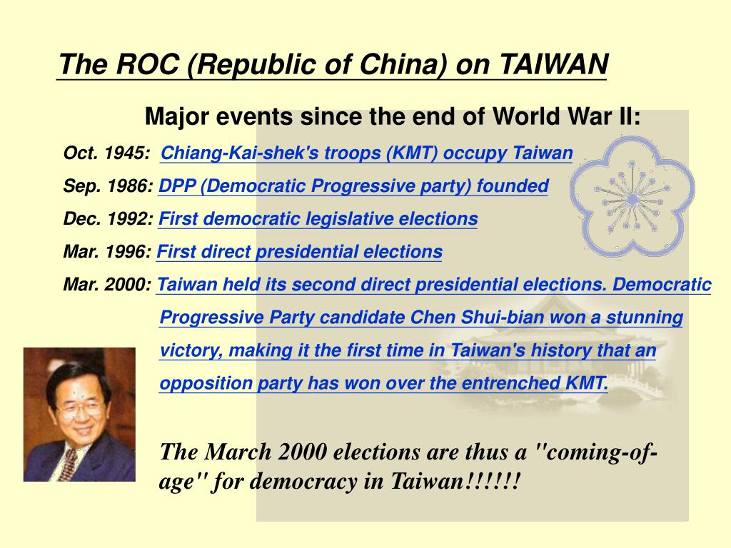 The ROC (Republic of China) on TAIWAN