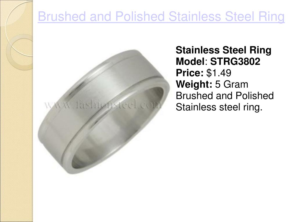 Brushed and Polished Stainless Steel Ring