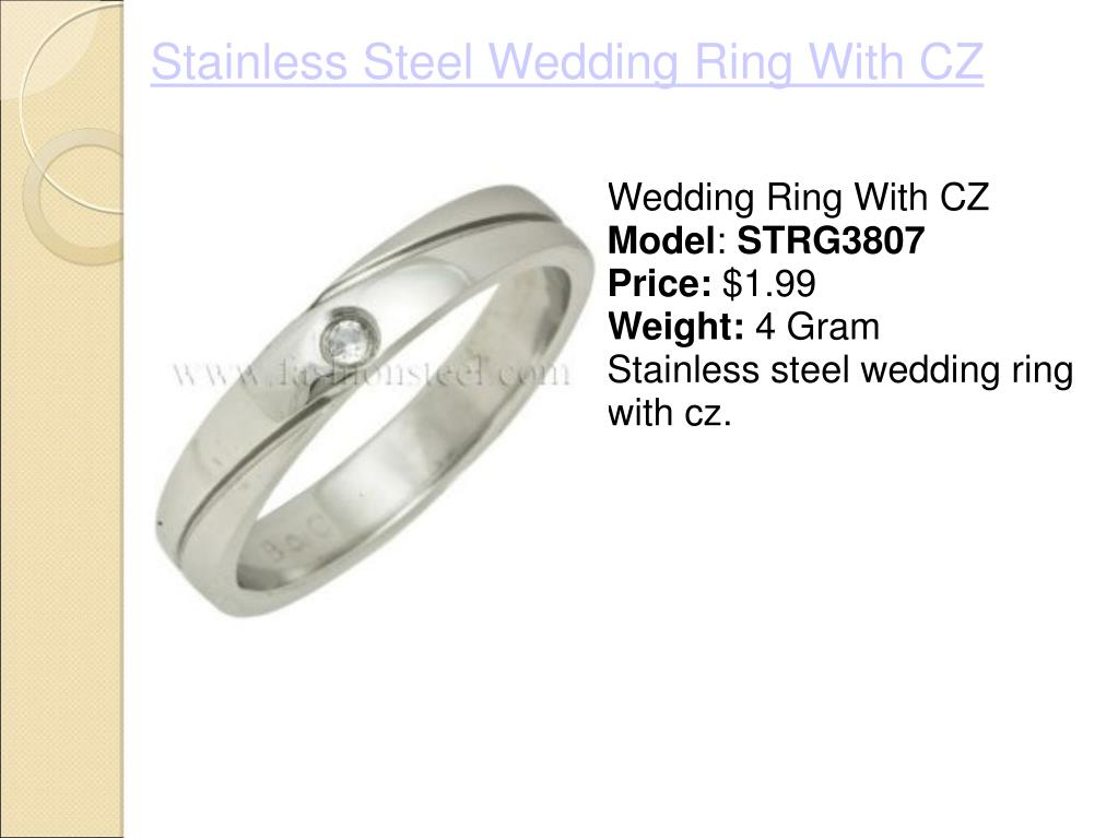 Stainless Steel Wedding Ring With CZ