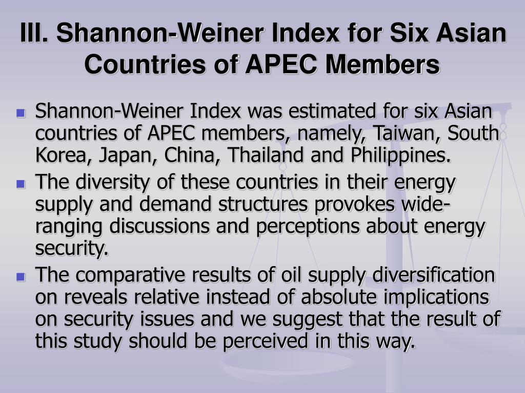 III. Shannon-Weiner Index for Six Asian Countries of APEC Members