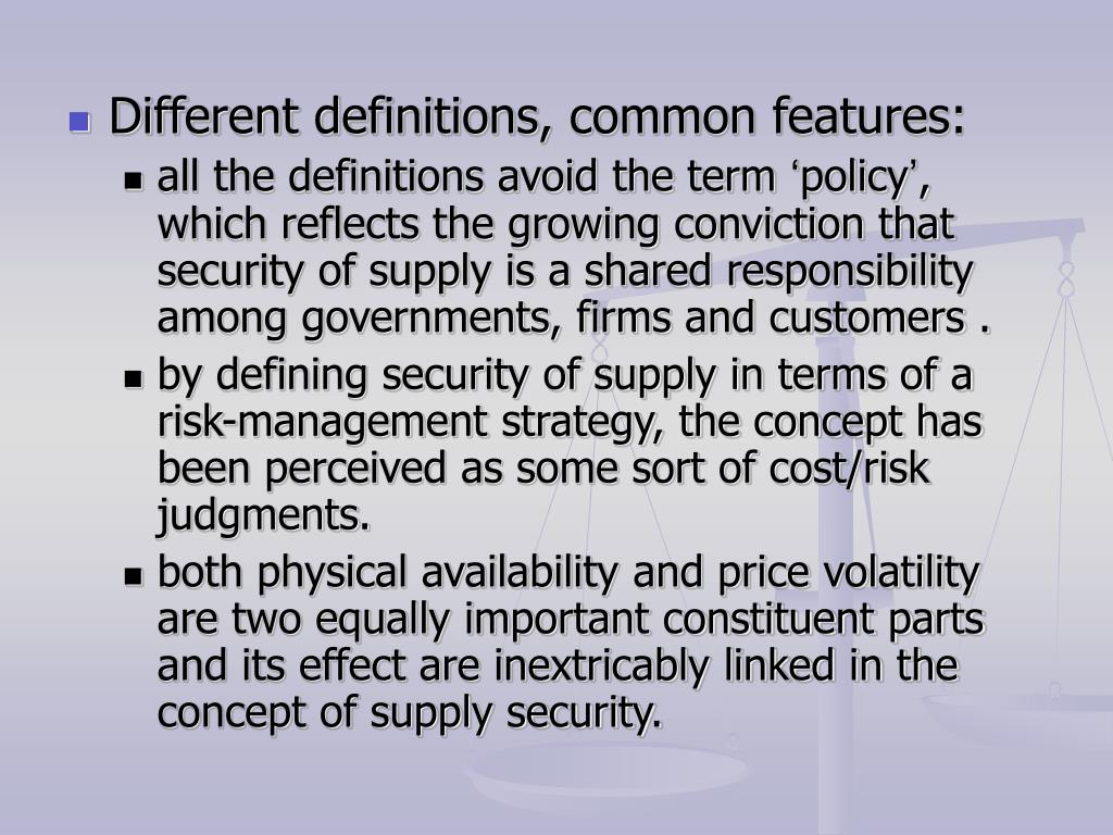 Different definitions, common features: