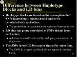 difference between haplotype blocks and ld bins