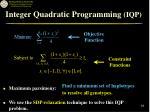 integer quadratic programming iqp18