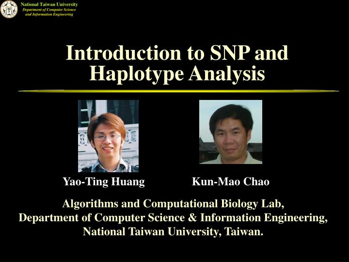 introduction to snp and haplotype analysis n.
