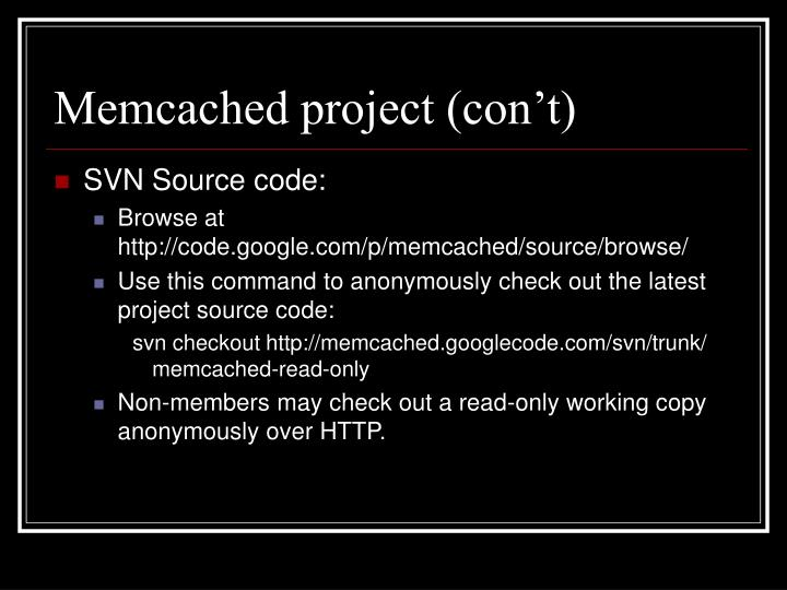 Memcached project (con't)