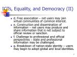 icts equality and democracy ii