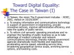 toward digital equality the case in taiwan i