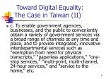 toward digital equality the case in taiwan ii