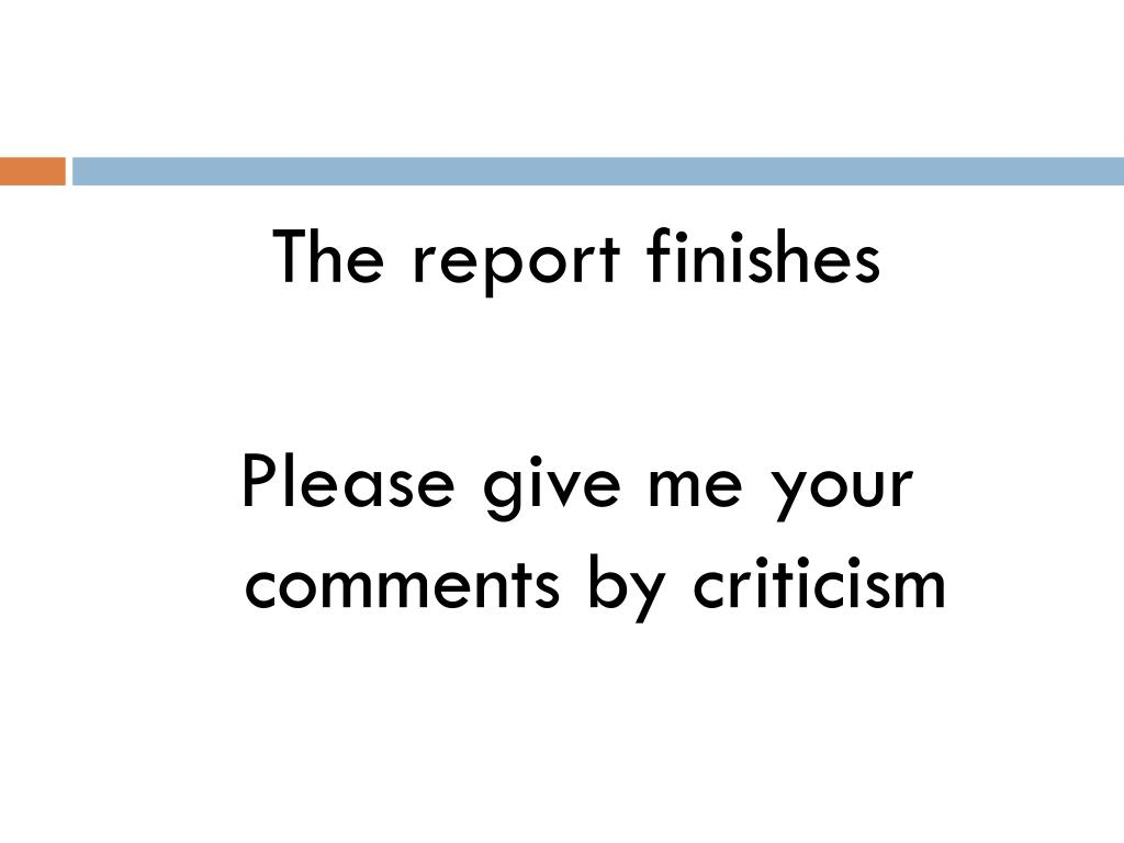 The report finishes