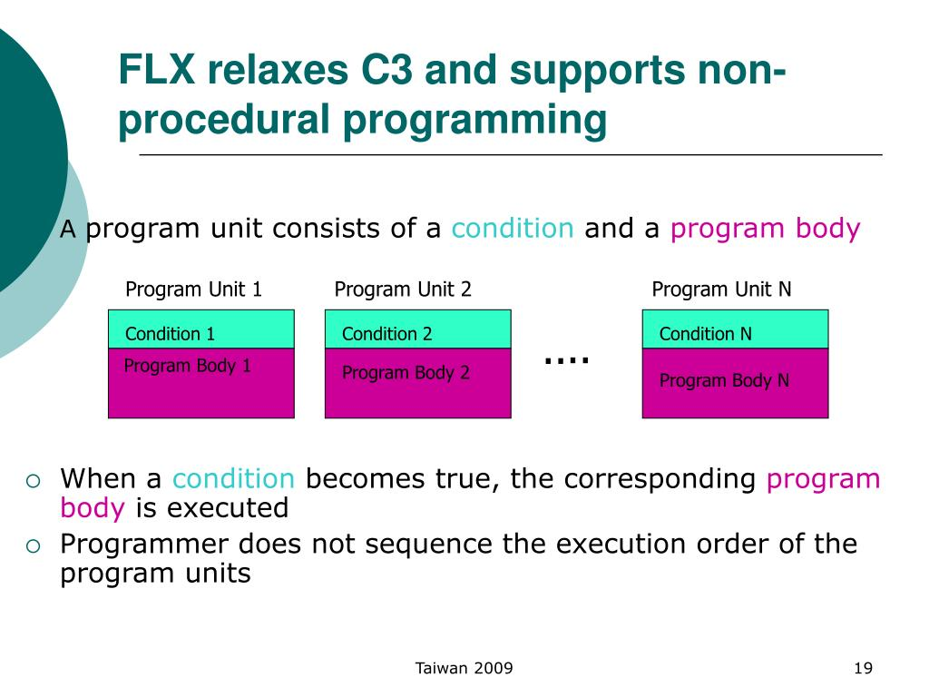FLX relaxes C3 and supports non-procedural programming