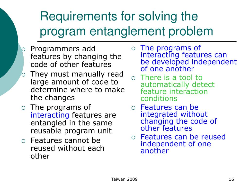 Requirements for solving the program entanglement problem