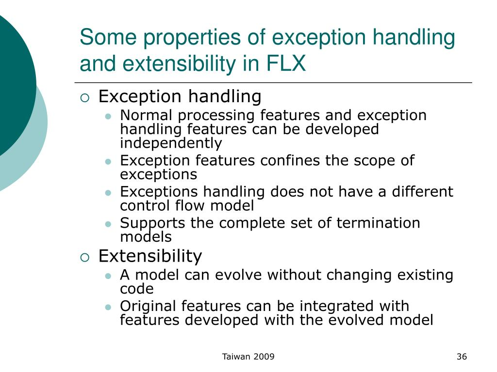 Some properties of exception handling and extensibility in FLX