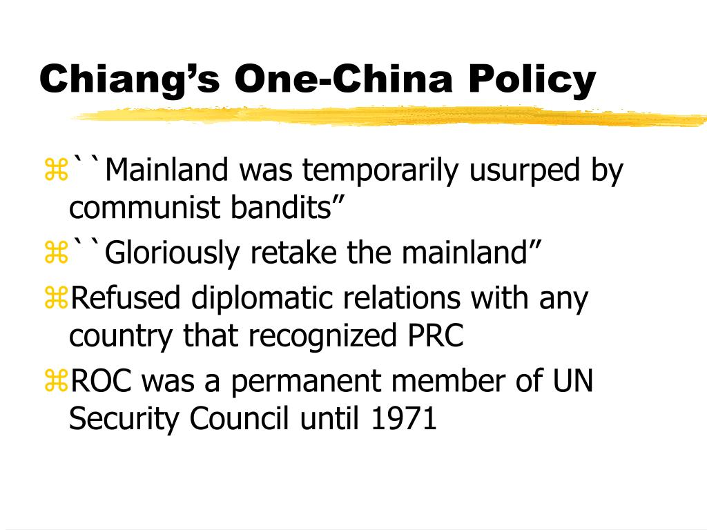 Chiang's One-China Policy