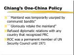 chiang s one china policy