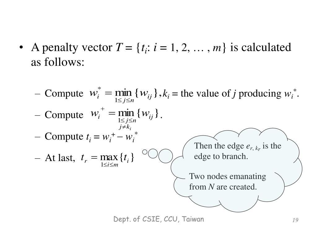 A penalty vector