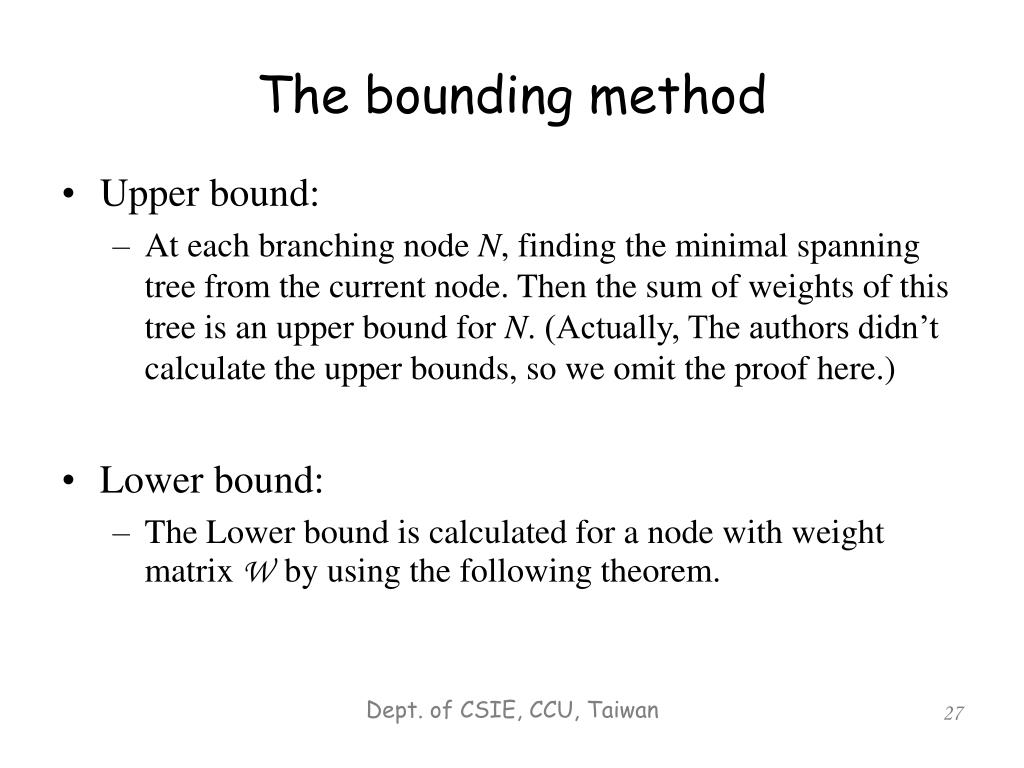 The bounding method