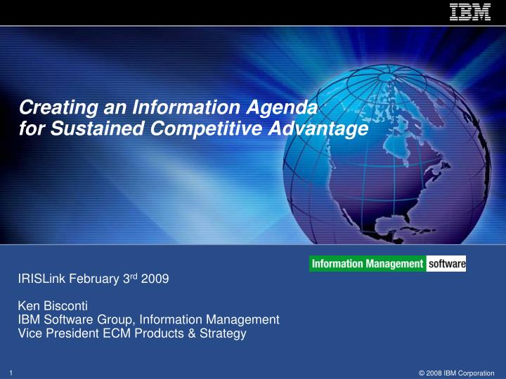 creating an information agenda for sustained competitive advantage n.