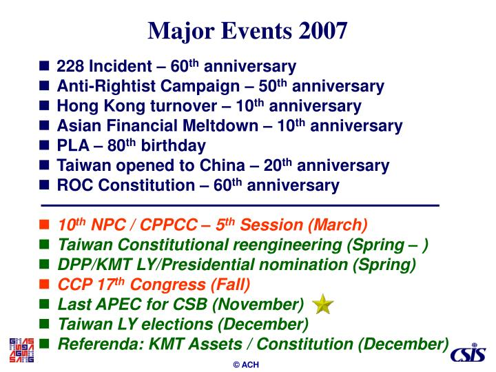 Major events 2007