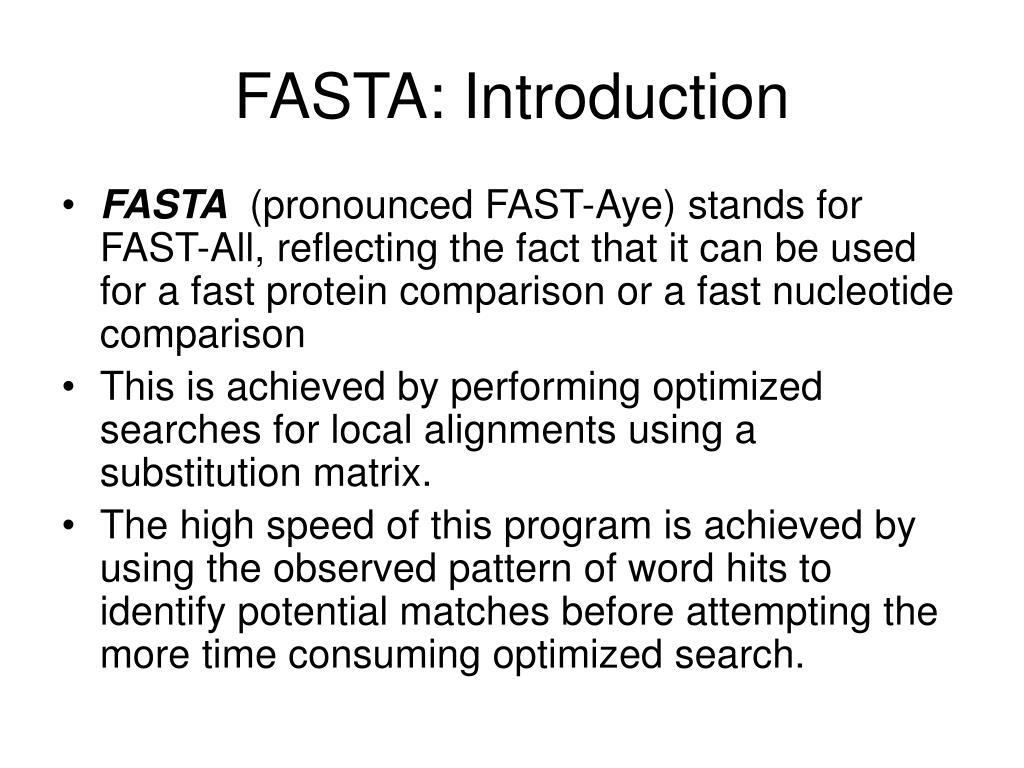 FASTA: Introduction