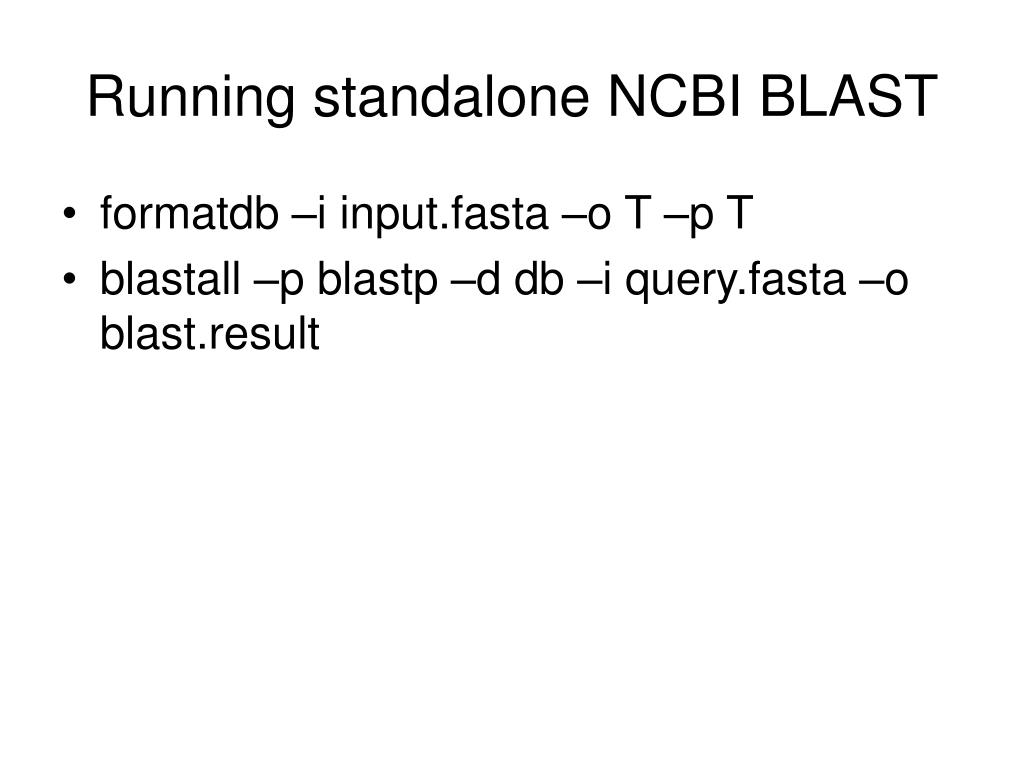 Running standalone NCBI BLAST