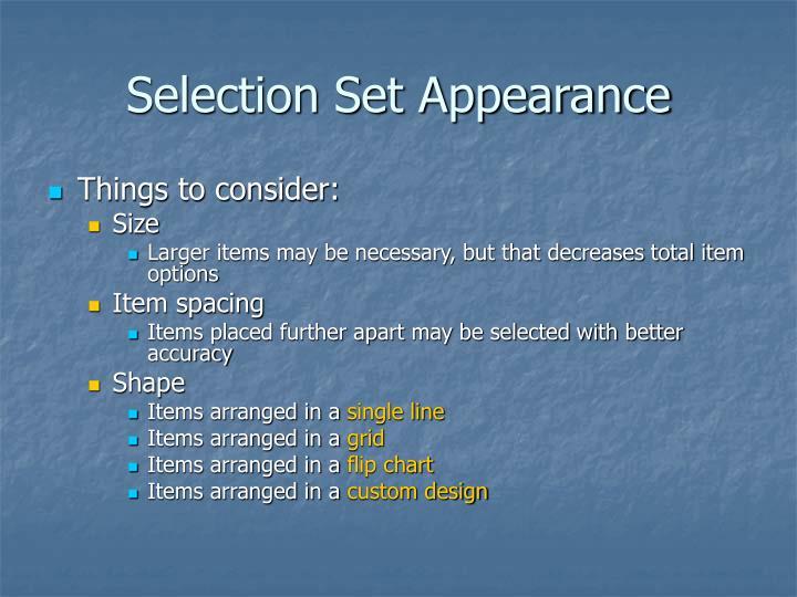 Selection Set Appearance