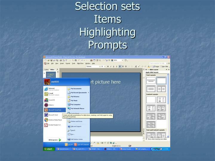 Selection sets
