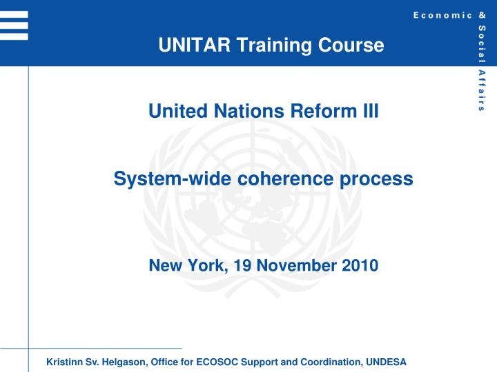 unitar training course n.