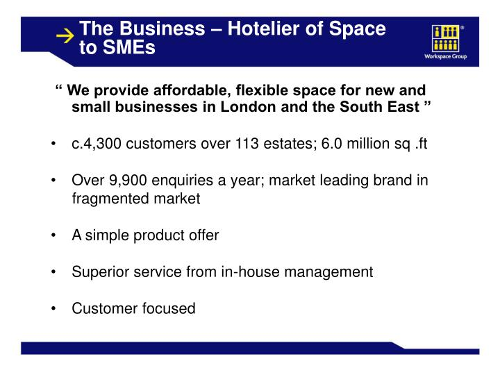 The Business – Hotelier of Space