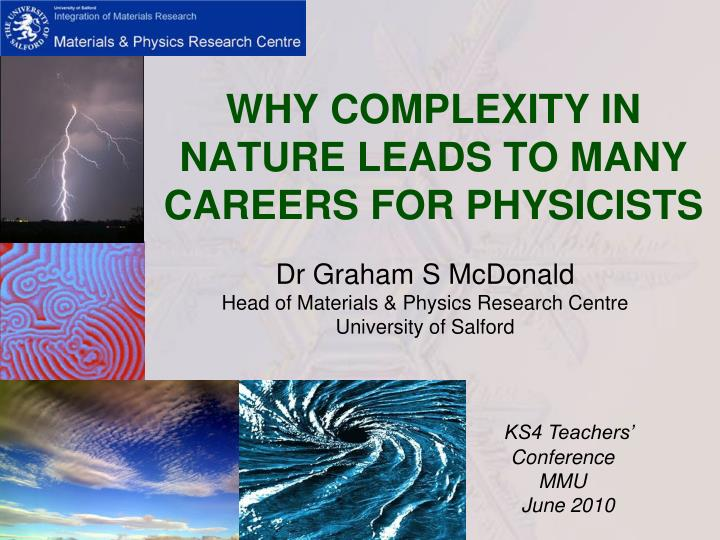 why complexity in nature leads to many careers for physicists