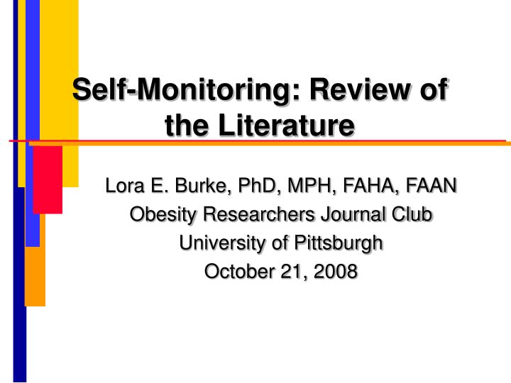self monitoring review of the literature n.