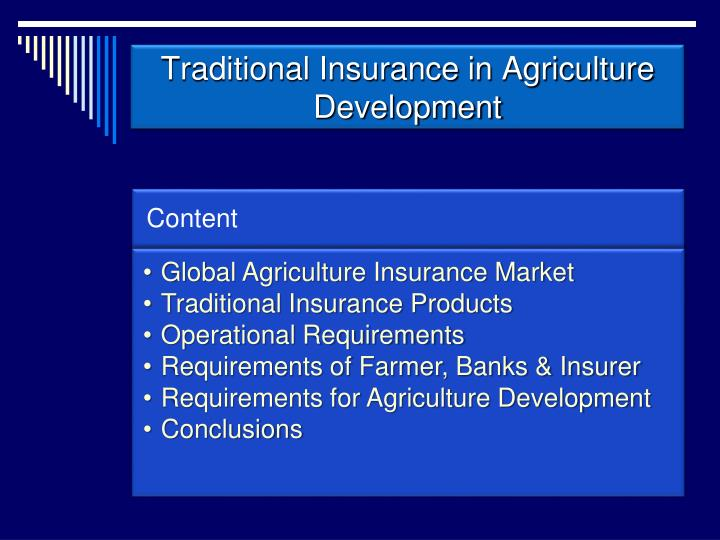 Traditional insurance in agriculture development1
