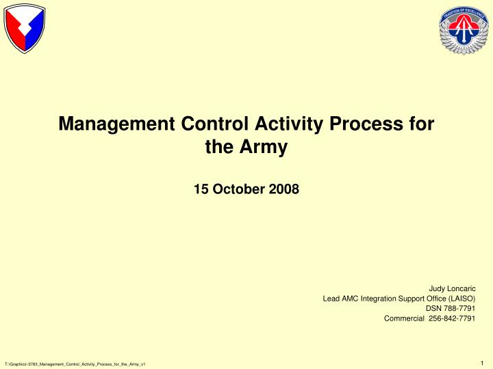 management control activity process for the army 15 october 2008 n.