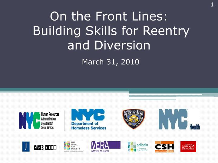 on the front lines building skills for reentry and diversion n.