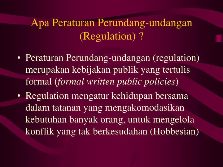 Apa Peraturan Perundang-undangan (Regulation) ?