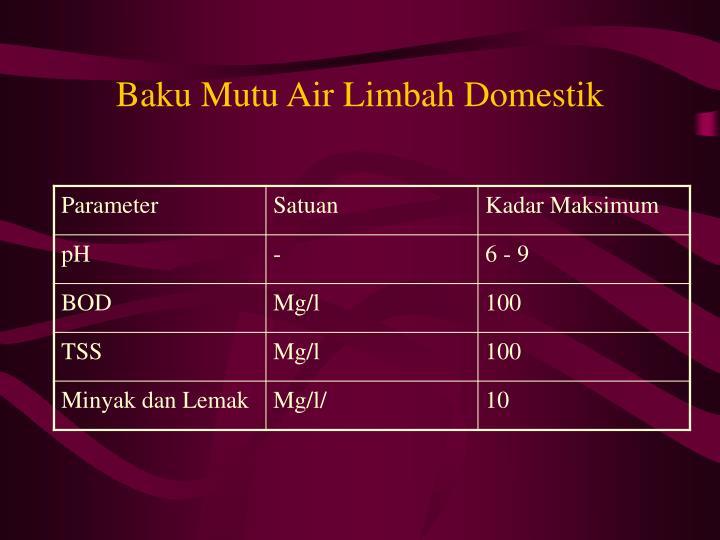 Baku Mutu Air Limbah Domestik