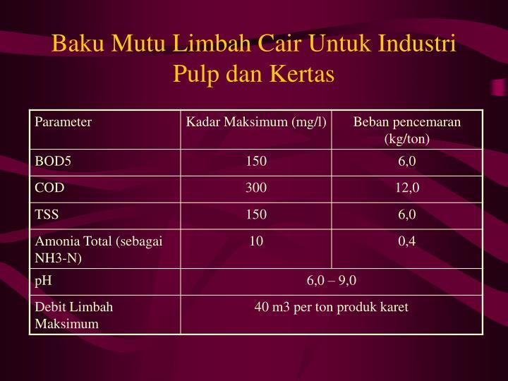 Baku Mutu Limbah Cair Untuk Industri Pulp dan Kertas