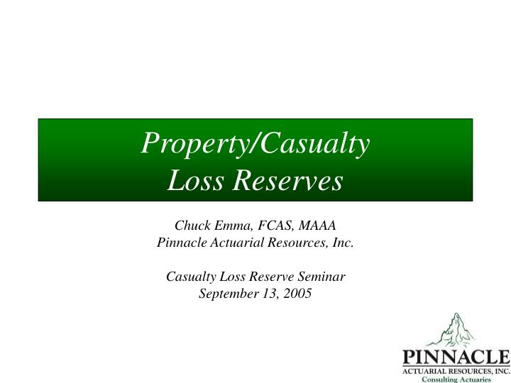 property casualty loss reserves n.