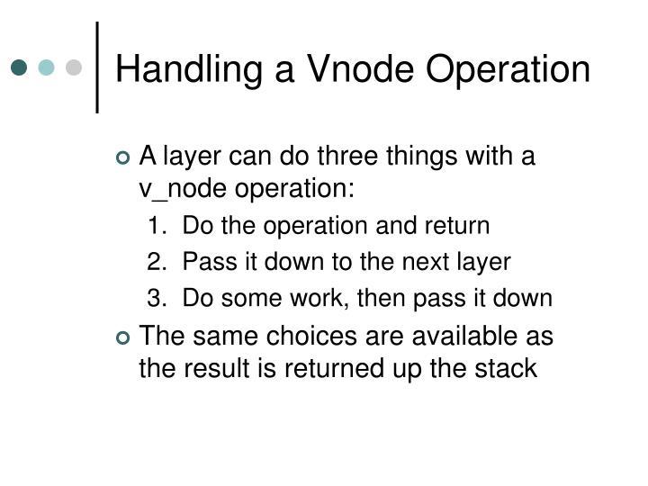 Handling a Vnode Operation